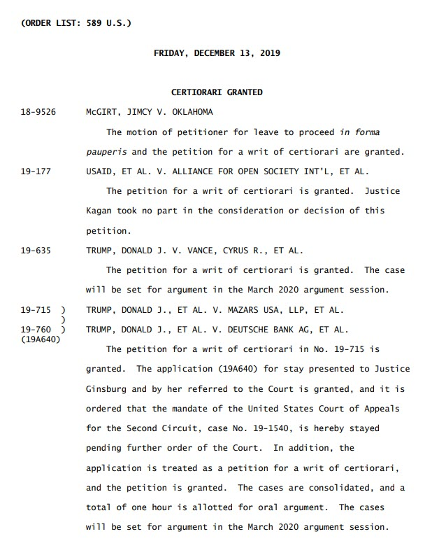 court order scotus trump taxes