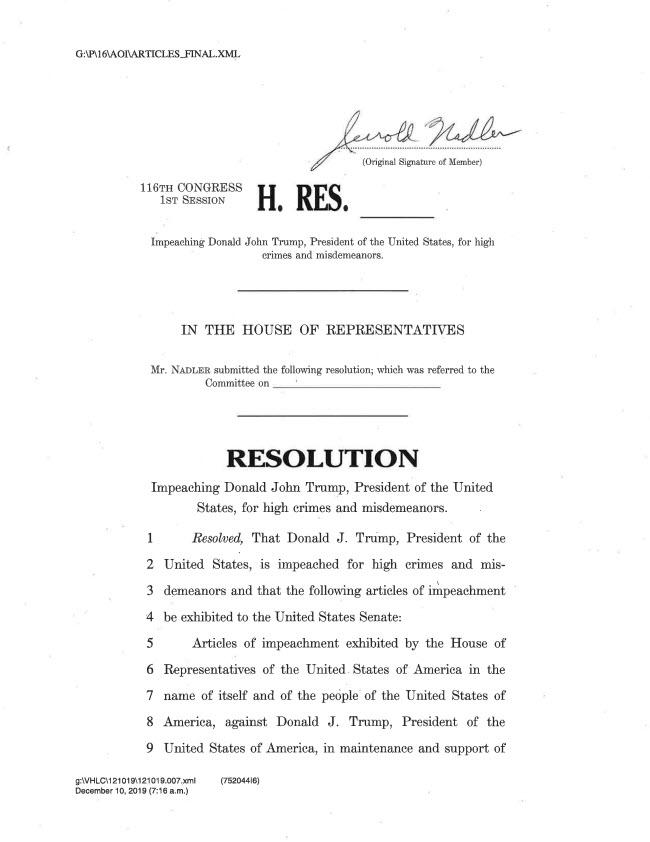 articles of impeachment 1