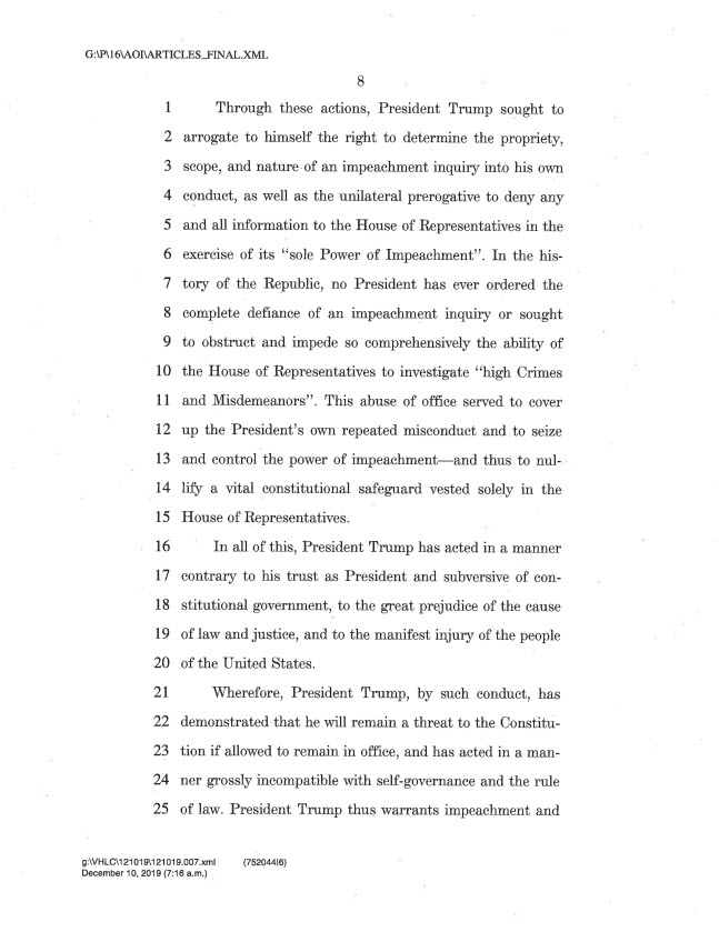 articles of impeachment 8