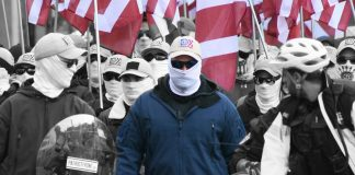 White Nationalists from Patriot Front white supremacist group marching in Washington D.C.