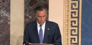 Mitt Romney votes for removal from office impeachment Donald Trump